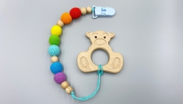 Wooden teether, pacifier clip holder