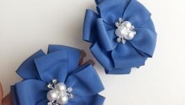 Голубые резиночки для волос в виде цветов