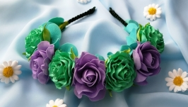 Bright headband with flowers, flower hoop, flower wreath, gift for a girl