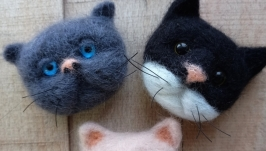 Валяная брошка кот
