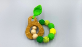 Wooden knitted teether Pear