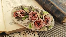 Floral edwardian genuine leather hair clip