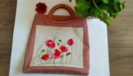 Handmade exclusive hand-painted linen bag with poppies