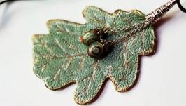 Leather oak leaf