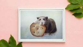 painting watercolor rat