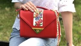 Червона сумочка ′Букет′, шкіряна сумочка, сумка з вишивкою