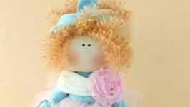 Кукла текстильная.Кукла рыжая кудрявая.Подарок девочке.