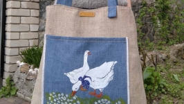 Exclusive linen bag with painting Geese