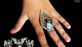 Adjustable ring Angel, moonstone adularia, gifts, handmade
