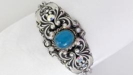 Bracelet, blue natural chalcedony, Swarovski crystals, handmade