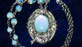 Pendant brooch, opals, Swarovski crystals, vintage, handmade.