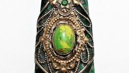 Scarab pendant, green jasper, turquoise, emeralds, handmade