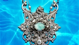 Pendant talisman natural larimar, pearls, Poseidon, handmade