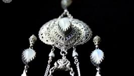 Set: pendant, ring, earrings, moonstone (adularia), handmade