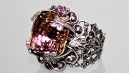 Adjustable ring, Brazilian ametrine octagon, handmade