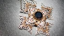 Pendant Crowned Maltese Cross, natural rauchtopaz, handmade