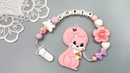 Personalized silicone teething device Squirrel with a holder on a clip