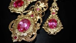 Royal set: earrings, pendant, tourmaline-rubellite, handmade