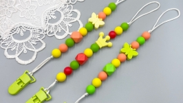 Silicone pacifier clip holder, in sunny summer colors