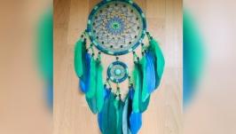 Зеленый бирюзовый синий ловец снов, ловец снов, декор, подарок, оберег