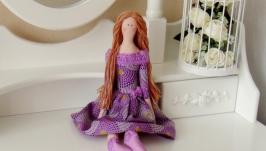 Кукла Тильда в сиреневом платье 48см