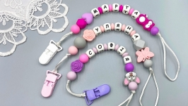 Baby girl′s personalized silicone pacifier clip holder