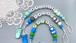 Baby boy′s personalized silicone pacifier clip holder