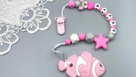 Personalized silicone teether ′Pink Fish′ with clip-on holder
