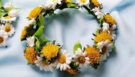 Chamomile Dandelion Flower CrownSpring Flower WreathRomantic Flower Wreat