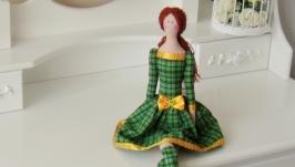 Кукла Тильда в зелёном платье 48см
