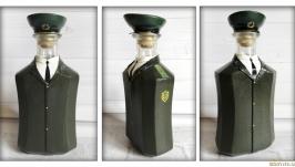 Стилизованная бутылка под форму офицера погранвойск Подарок пограничнику