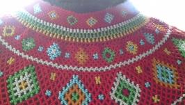 Ukrainian Ethnic Handmade Beaded Necklace Lemko kryza kryvulka red