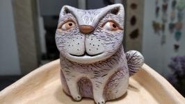 Статуэтка керамическая ручной работы . Кот .