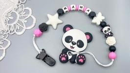 Именной силиконовый грызунок ′Панда′ с держателем на прищепке