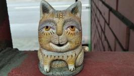 Статуэтка кота  керамическая .