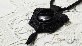 Шкіряний кулон , сутаж, зі справжнім каменем (Агат)