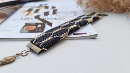 Браслет из мелкого японского бисера′Техно-сеть золотая′