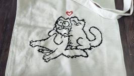 Shopper bag. Embroidered shopper tote. Tote bag canvas.