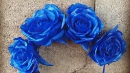Ободок «Цвет настроения Синий» с розами