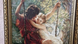 Pierre Auguste Cot ′Springtime′ (cross-stitch embroidery)