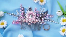 Wedding comb from beads ′Tenderness′