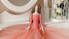 Тильда принцесса в коралловом платье 48см