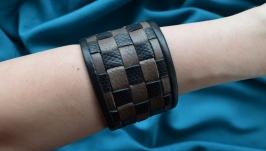 Серый кожаный плетеный браслет