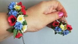 Браслет и серьги ′Полевые цветы′