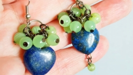 Earrings with lapis lazuli and onyx