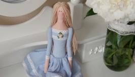 Кукла Тильда в голубом платье 48см