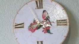 Настенные часы шебби шик Розовая Птичка на цветущей ветке