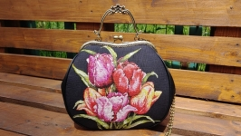 Women′s handbag. Natural suede, hand cross-stitch