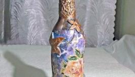 Декоративная бутылка Розы шебби шик фиолетовая