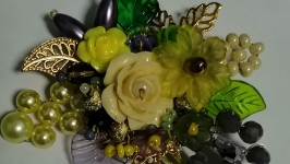 Unique handmade brooch with flowers and beads